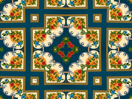 Illustration of a bright multicolored carpet with floral ornaments 免版税图像 - 156439432