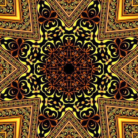 Illustration vintage background, elegant antiques, Victorian gold, floral ornament, baroque frame,