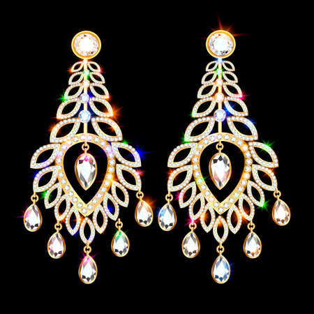 Illustration set of gold earrings with precious stones in the form of a peacock feather