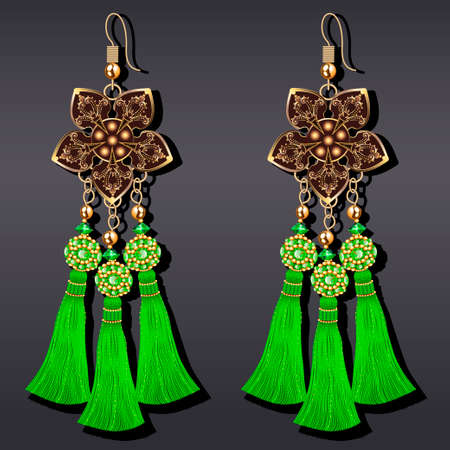 Illustration of jewelry gold earrings with precious stones and tassels