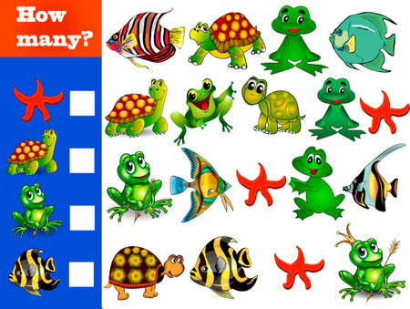 Counting game for preschoolers. Educational math game. Count how many different animals and write down the result!