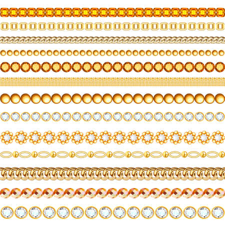 Jewelry seamless pattern illustration with gems and gold chains