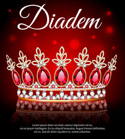 Illustration of diadem, crown, female tiara with precious stones with reflection 向量圖像