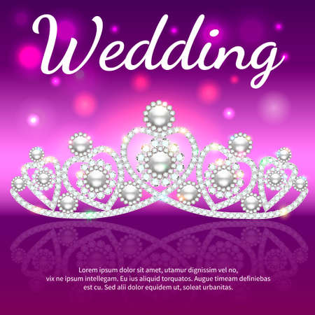Illustration of shiny diadem womens wedding with heart and reflection