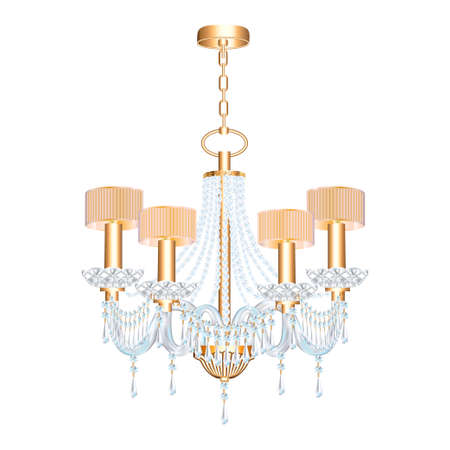 illustration of modern chandelier with crystal pendants isolated on white