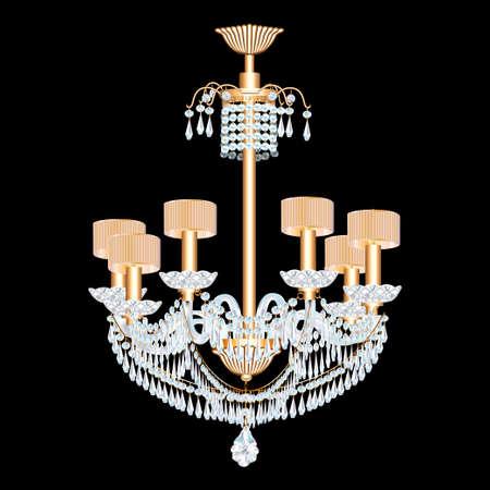illustration of a modern chandelier with crystal pendants on the black Ilustração