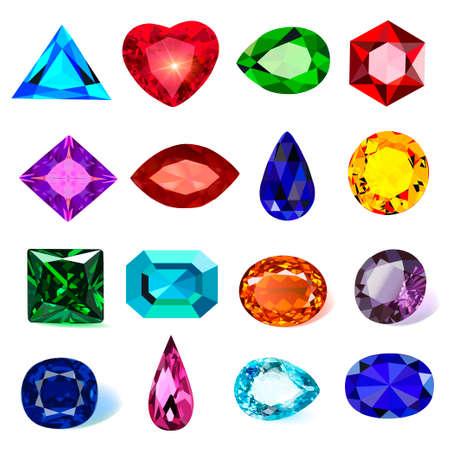 illustration set of precious stones of different cuts and colors Vecteurs