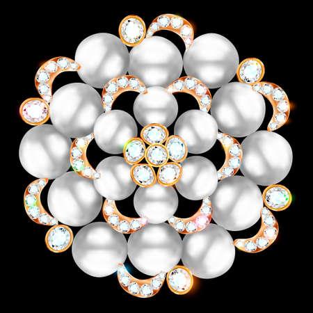 Mandala brooch jewelry, design element. Tribal ethnic floral pattern mandala round with precious stones. Geometric vintage ornamental background. 向量圖像
