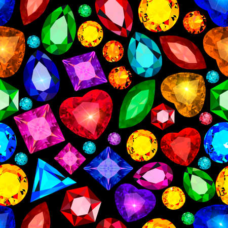 Illustration of vintage seamless pattern with gems 向量圖像