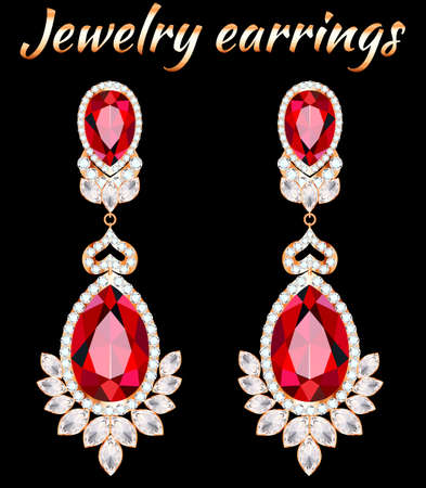 Illustration of gold jewelry earrings with ruby and precious stones 向量圖像