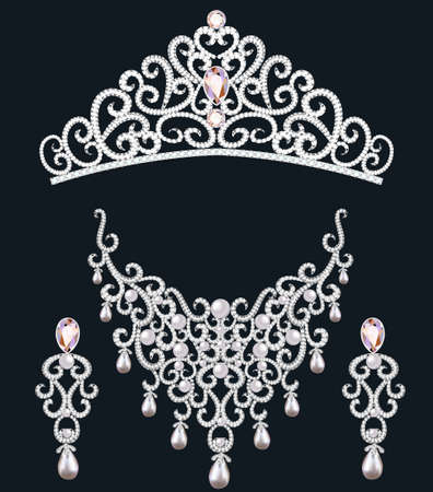 illustration necklace diadem and earrings with white precious stones