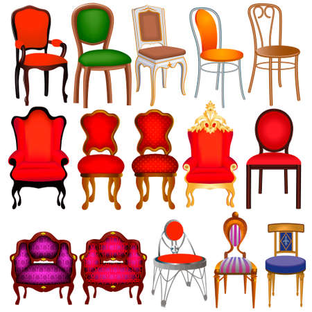 Illustration set of vintage chairs of different colors and shapes