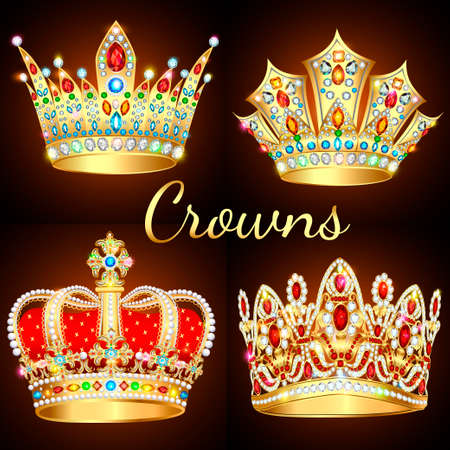 Illustration of a set of vintage crowns with precious stones