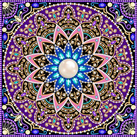 Illustration background circular ornaments of precious stones 向量圖像