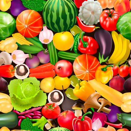 Illustration of a seamless pattern with vegetables, fruits and mushrooms