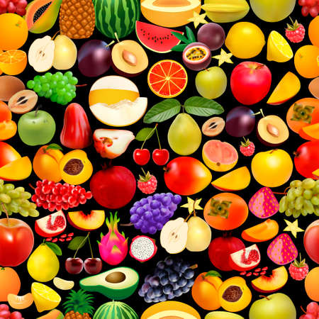 Illustration of seamless background with fruits and berries