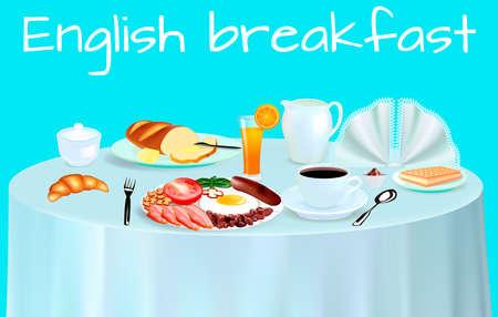 English breakfast fried eggs, tomato, beans in tomato sauce, sausage, orange juice, tea