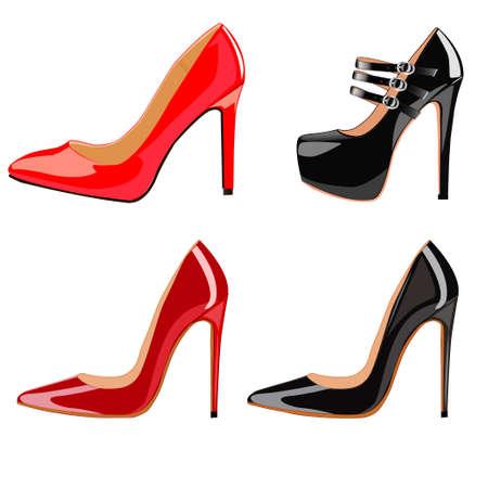 Illustration set of female fashionable shoes with heels 向量圖像