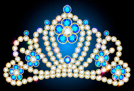 illustration corona diadem feminine wedding we turn blue