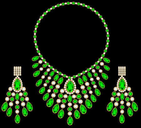 illustration of womens gold necklace and earrings with green gemstones