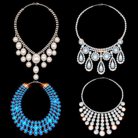 Illustration of jewelry set of different gemstone necklaces