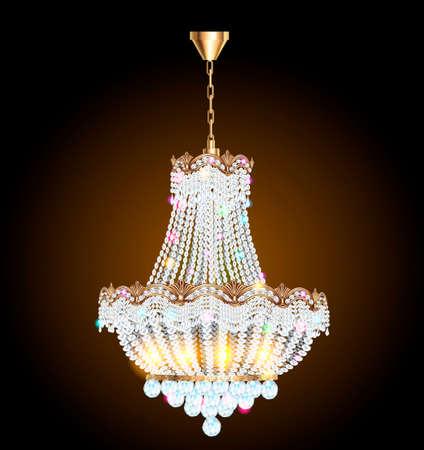 illustration of a chandelier with crystal pendants on the black Ilustração