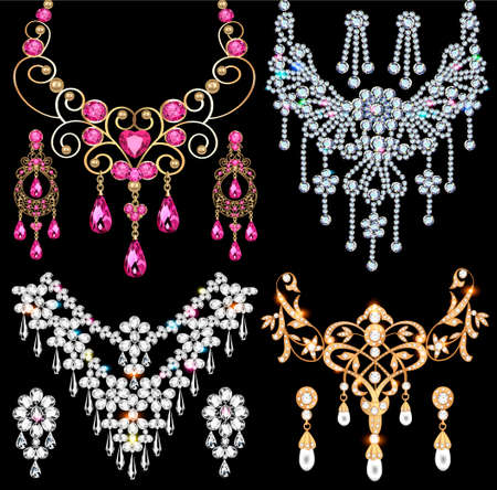 Illustration of jewelry set of necklace and earrings from precious stones