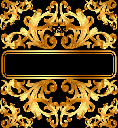 Illustration vintage background frame with gold ornament and crown