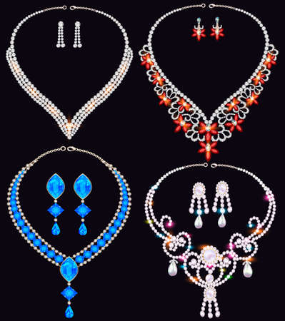 Illustration of jewelry set of necklace and earrings from precious stones Ilustración de vector