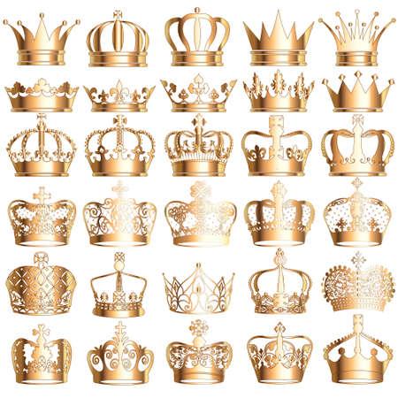 Illustration set of gold vintage crowns isolated on white background. 向量圖像