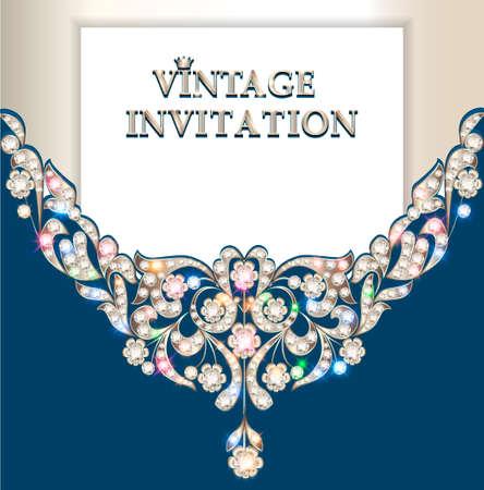 Illustration vintage background, elegant antiques, Victorian, floral ornament, baroque frame, beautiful invitation. 向量圖像