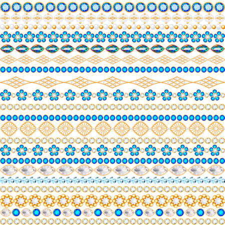 Illustration of a jewelry seamless pattern with precious stones of different colors 向量圖像