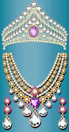 illustration set of crown, tiara necklace and earrings, wedding female diamond 向量圖像