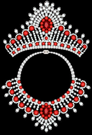 Illustration set of jewelry crown and necklace with precious stones