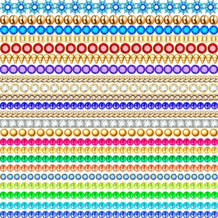Jewelry seamless pattern illustration with gems and gold chains 向量圖像