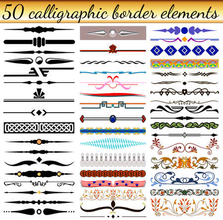 Illustration set of calligraphic vintage elements borders of different shapes and colors