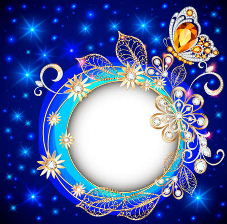 Illustration round, jewelry background banner decorated with gold products, flowers and ornaments in ethnic style with precious stones on a dark glowing background.