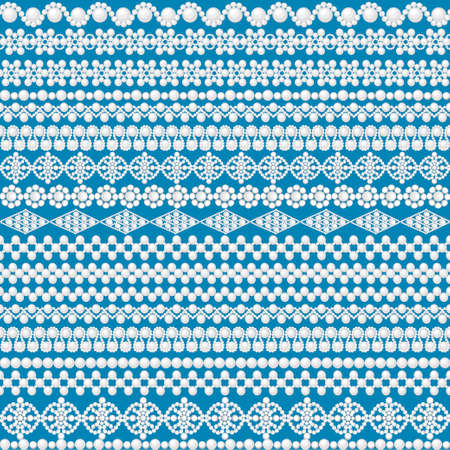 Illustration of a seamless background with a pattern of white pearl beads