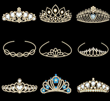 Vector illustration of a fashion collection of jewelry tiaras with diamonds 向量圖像