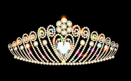 illustration women's gold diadem tiara with precious stones 向量圖像