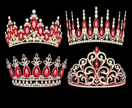illustration set of womens gold diadem tiara with precious stones 向量圖像