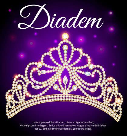Illustration of diadem, crown, female tiara with precious stones 向量圖像