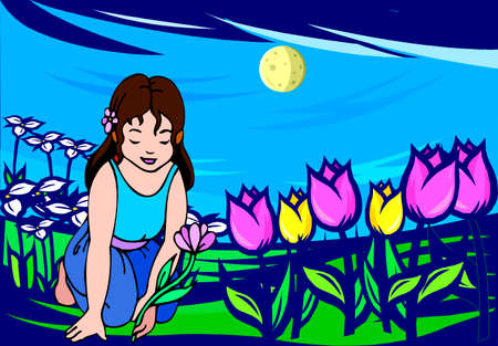 Illustration of a girl planting flowers in the garden