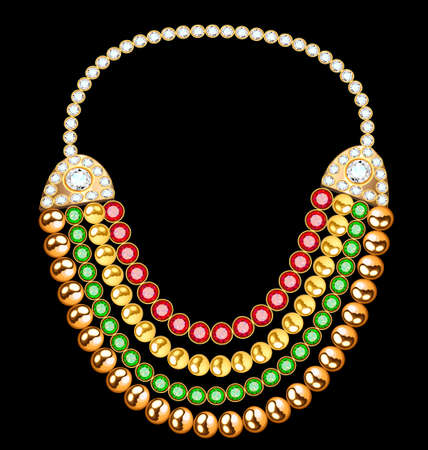 Illustration of a female gold necklace with precious stones