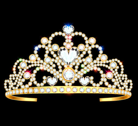 illustration of a crown diadem female with precious stones on a dark background