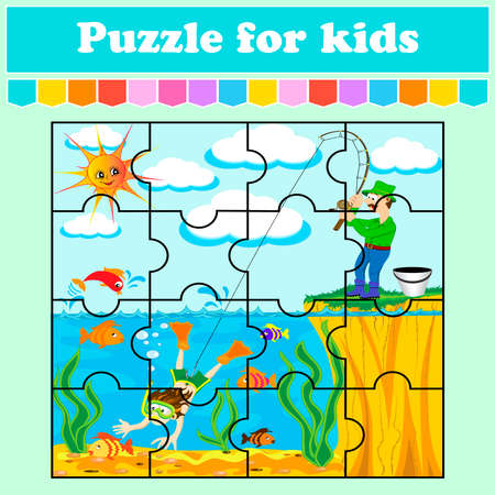 A puzzle game for children. joke about a fisherman. Education worksheet. Color activity page. Riddle for preschoolers. Isolated vector illustrations. Cartoon style. 向量圖像