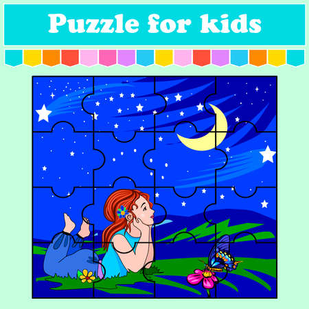 A puzzle game for children. The girl and the starry night. Education worksheet. Color activity page. Riddle for preschoolers. Isolated vector illustrations. Cartoon style. 向量圖像