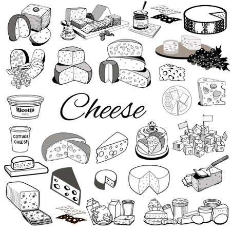 Illustration set of sketches of hand-drawing cheese products strokes.