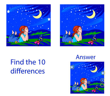 Children's illustration Visual puzzle: find ten differences of a girl dreaming on a starry night.