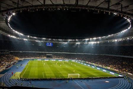 cues: Olympic Stadium in Kiev (interior) during Ukraine Championship game between FC Dynamo Kyiv and FC Shakhtar Donetsk